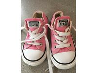 Girls pink converses size C6