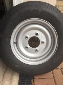 14 inch 5 stud trailer wheel and tyre