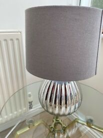 Silver with grey shade £10 brass lamp with glass shade £10 I can deliver if local