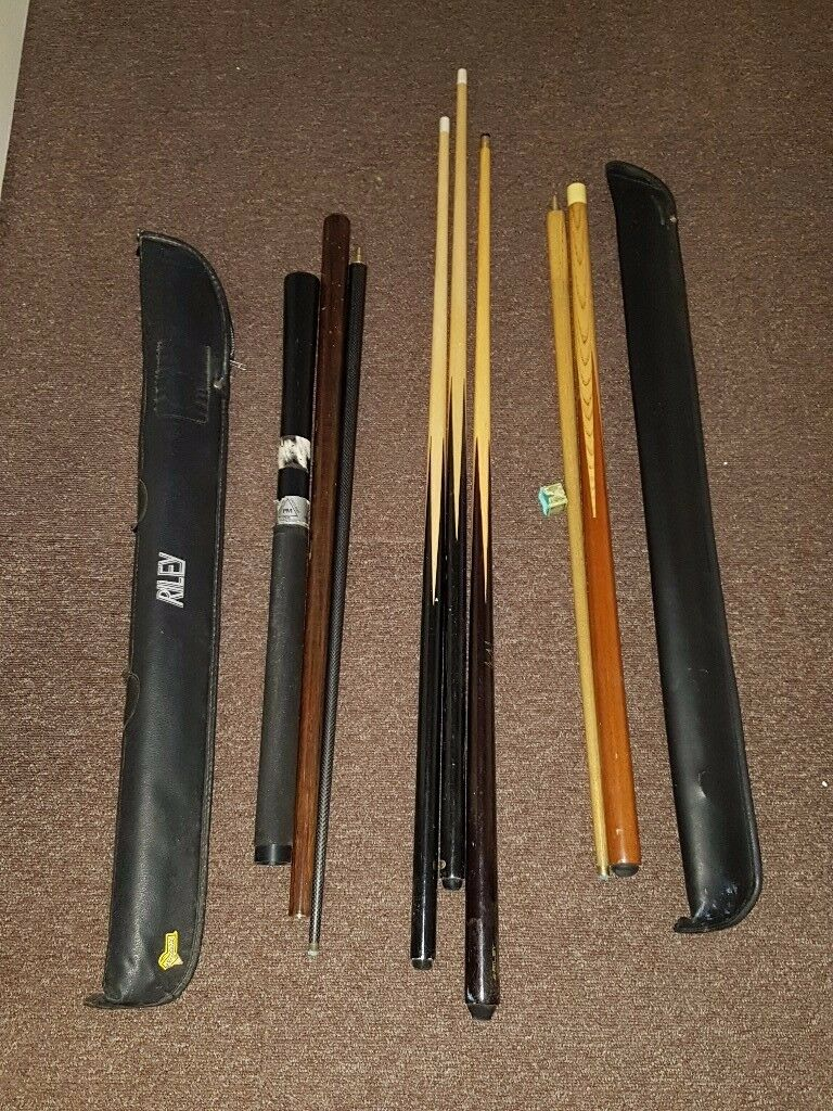 2 riley - 2 piece snooker cues and 3 pool cues 3 pool cues