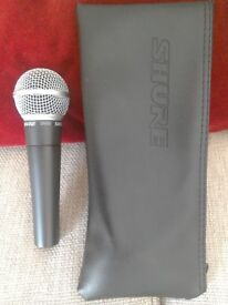 SHURE SM 58 MICROPHONE, & STAND.(BOTH NEW