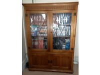'Old Charm' real oak Display Cabinet with leaded glass doors - in excellent condition