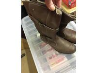 Brown leather boots size 4(37)
