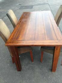 Used condition solid pine tables + free 4 chairs only £70 good bargain