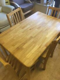 Pine Dining Table & Four Chairs