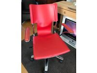 Quality Red Real Leather Office Computer Hydraulic Chair Seat Student Teenager Bedroom Study