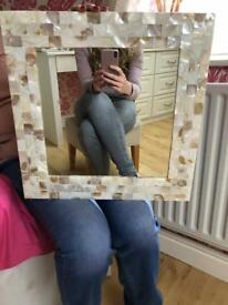 Mother of pearl framed mirror