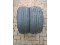Pair of worn Run Flat Tyres. 225 35 R19. Bridgestone Potenza & Pirelli PZero. 225 35 19 225/35/19