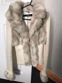 Jane Norman fur cardigan / river island white denim jacket