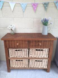Rustic, chunky solid wood and wicker sideboard