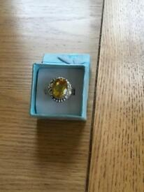 Ladies silver ring with a genuine Citrine stone new