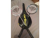 2 x Carlton Airblade Badminton Racquets with one head cover.