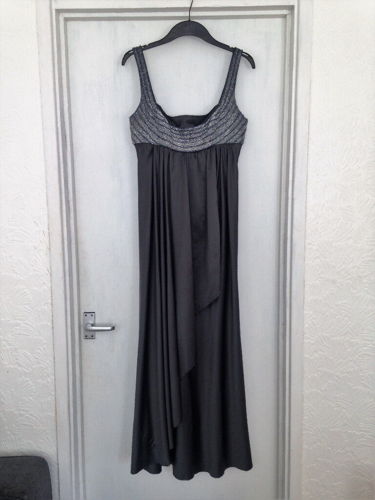 Womens size 12 metallic grey Amanda Wakeley silk long Bridesmaid dress **ONLY WORN ONCE**