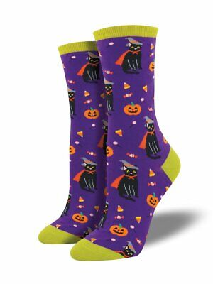 Socksmith Damen Hexe Katze Lila Mannschafts Socken Halloween Schwarzen Kürbisse (Mann Katze Halloween)