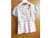 New Girl's 2 in 1 Button Wrap T Shirt