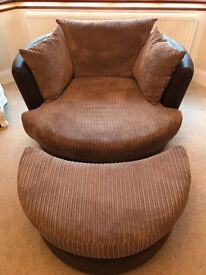 DFS corner sofa, storage footstool, large swivel chair, half moon footstool