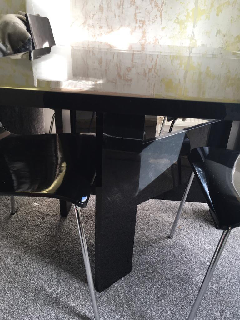 Black High Gloss Next Folding Dining Table With 4 Chairs