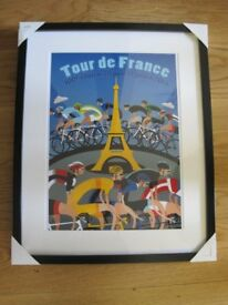 NEW MOUNTED AND FRAMED POSTER 'TOUR DE FRANCE'.