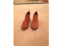 Womens Tan Suede Chelsea Ankle Boots- Size 6