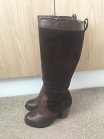 BERTIE BROWN LEATHER KNEE HIGH BOOTS SIZE 4