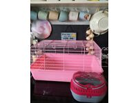 Pink indoor guinea pig/pet cage plus new pet carrier £15 for both