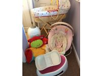 Baby Bundle - Moses Basket/Stand/Bath/Bouncer/Tummy Time Ring Support/TopTail Bowl/Nappy Bin