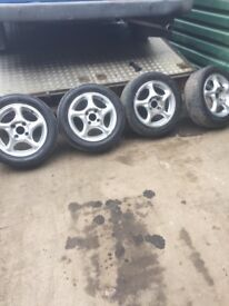 Hyundai Coupe set of alloy wheels and tyres