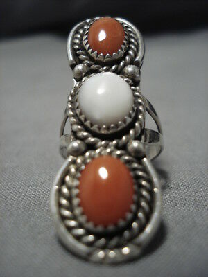 TOWERING DOMED CORAL VINTAGE NAVAJO STERLING SILVER RING OLD