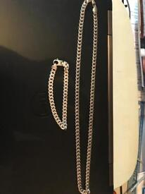 Silver necklace and matching bracelet