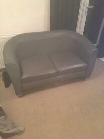 Gorgeous grey leather 2 seat bucket sofa