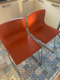 Two leather Bernhard Ikea bar stools