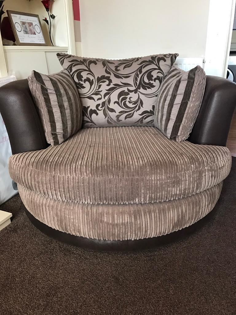 Large Swivel Chairs Living Room Large Swivel Chair And Footstool Price Reduced In Forfar