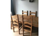 Wood table and 6 chairs.