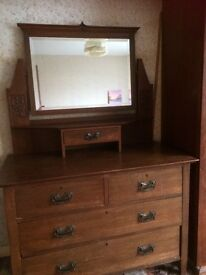 Solid Oak Arts and Crafts Dressing Table matches the wardrobe