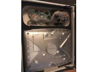 XBox with controllers in metal carry case