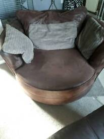 Brown suede cuddle chair good condition
