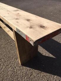 Reclaimed scaffolding board bench