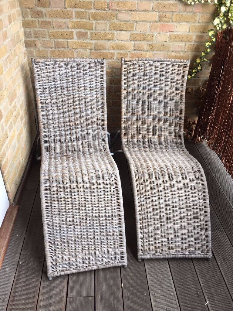2x ikea rattan sun loungers used in clapham common. Black Bedroom Furniture Sets. Home Design Ideas