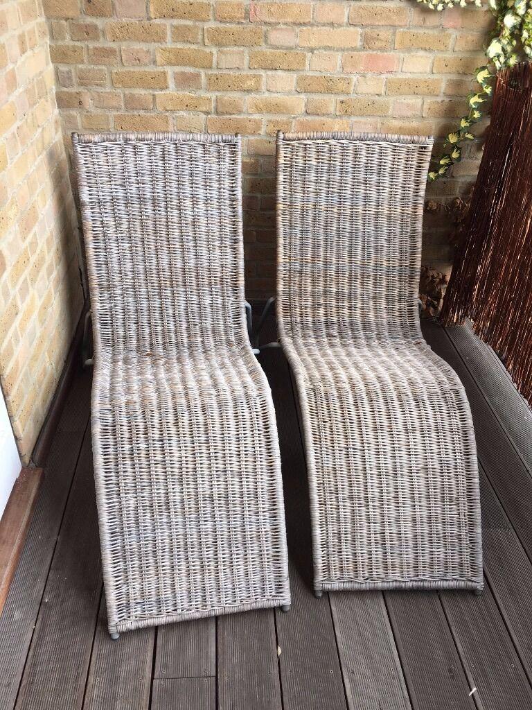 2x Ikea Rattan Sun Loungers Used In Clapham Common