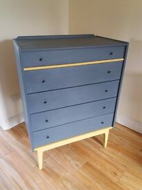 Lovely upcycled grey vintage chest of drawers
