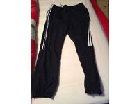 Mens Red Tag Black With White Stripes Bottoms New