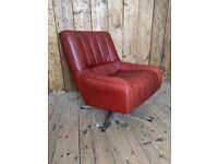 Red leather modernist swivel armchair mid century modern retro vintage gplanera