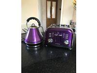 Purple kettle and 4sluce toaster