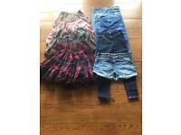 Selection of girls jeans and skirts