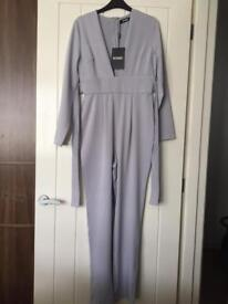 Misguided Plunging Neckline Pale Blue Jumpsuit Brand New