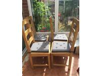 4 dining chairs with seat pads