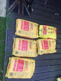 5 new sacks of Postmix concrete 20kg sacks and sack of building sand and sharp concreting sand