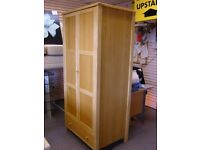 Beautiful 2 Drawer Wardrobe in Light Solid Block Hardwood with Lower Drawer. Excellent Condition