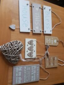 Six Hanging wooden signs