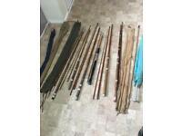 Vintage fishing rods x6 milbro redmayne ect